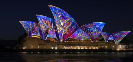 Spectacular lighting of the Sydney Opera House